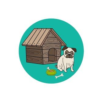 Canil de cão e ícone de círculo mops