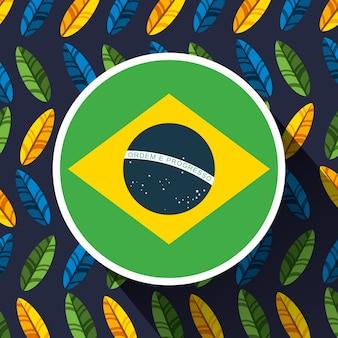 Canival da celebração brasileira do rio com ilustração da bandeira
