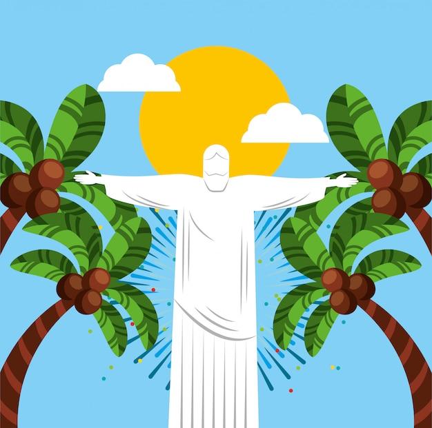 Canival da celebração brasileira do rio com ilustração de corcovade christ