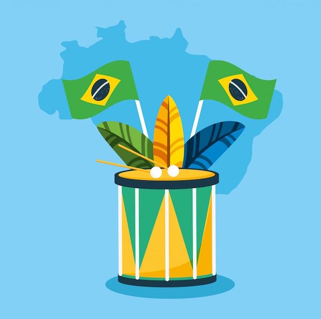Canival da celebração brasileira do rio com ilustração de tambor e penas