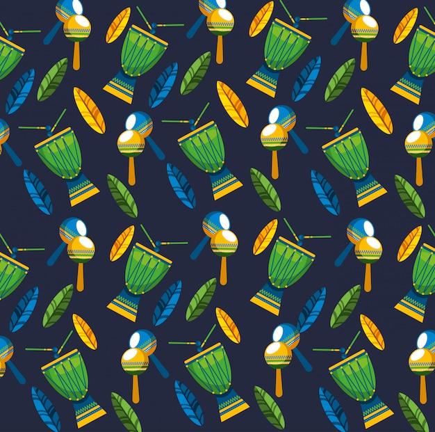 Canival da celebração brasileira do rio com padrão sem emenda de instrumentos musicais