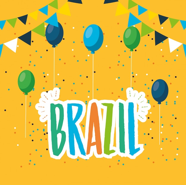 Canival da ilustração de celebração brasileira do rio com hélio de letras e balões