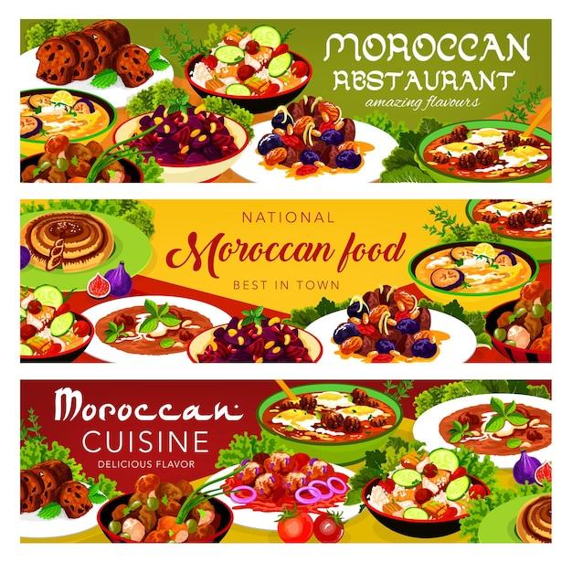 Canja de galinha de comida marroquina, salada de cuscuz com legumes, sopa fria de berinjela dos balcãs. payla, bolinho de peixe com molho de tomate, tarte com tâmaras, almôndega com pasta de tomate e ovo cozinha do marrocos
