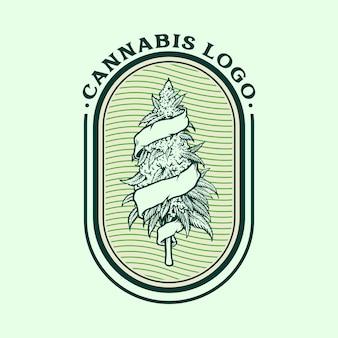 Cannabis com logotipo vintage weed