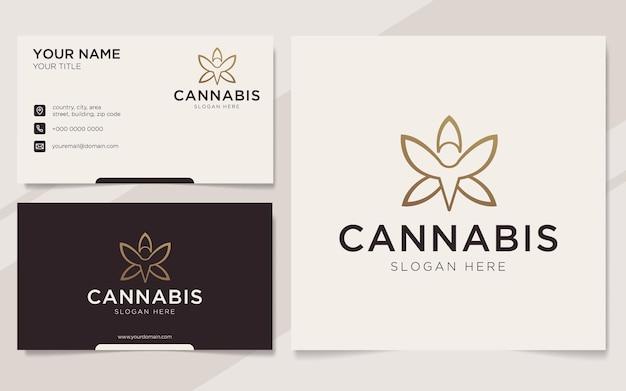 Cannabis de luxo com logotipo de pessoas e modelo de cartão de visita