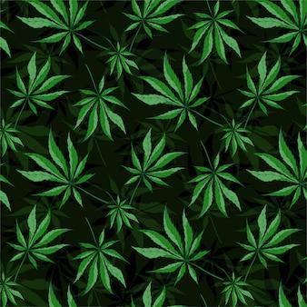 Cannabis folhas padrão sem emenda