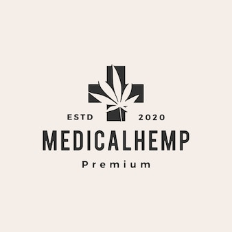 Cannabis hipster médica logotipo vintage icon ilustração