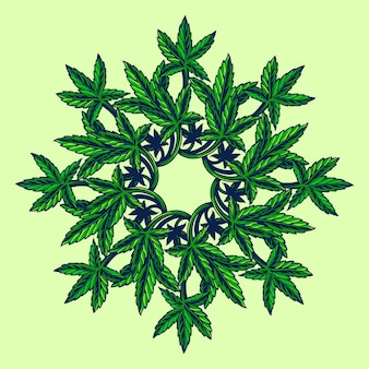 Cannabis leaf marijuana mandala