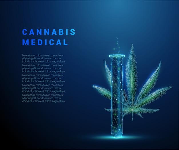 Cannabis medicinal de baixo poli. folha e tubo de maconha