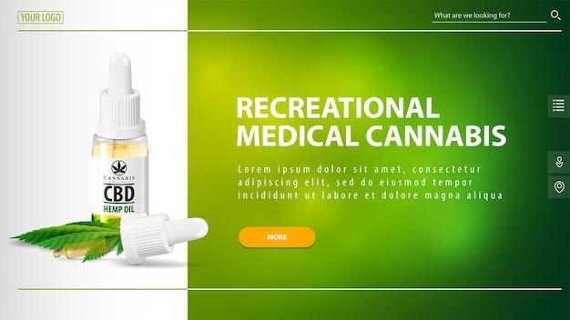 Cannabis medicinal recreativa, cabeçalho branco e verde para site com garrafa de óleo cbd com pipeta e botão laranja no fundo verde desfocado