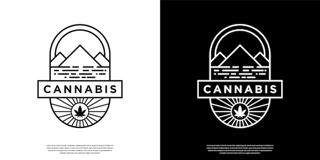 Cannabis vintage retrô e logotipo da montanha com estilo de arte de linha