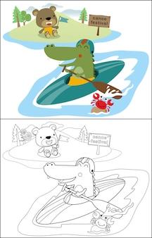 Canoagem com crocodilo engraçado e amigos