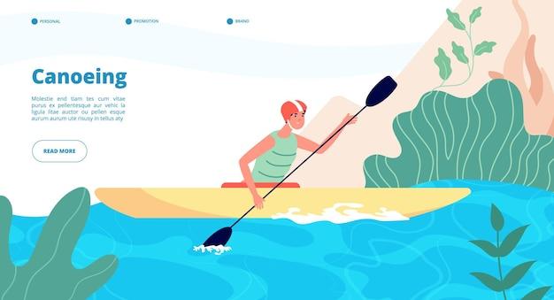 Canoagem e caiaque. modelo de banner de esportes aquáticos