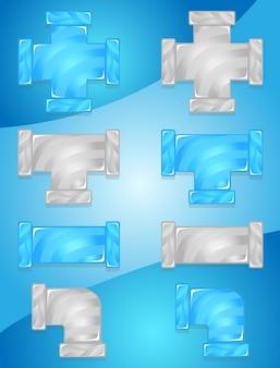 Canos de encanamento cor azul céu e cinza doce conjunto de ícones