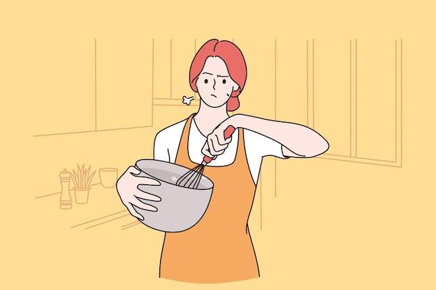 Cansaço de cozinhar em casa conceito