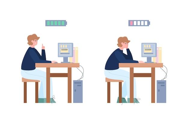 Cansado e cheio de ilustração vetorial de desenhos animados de empresários de energia isolada