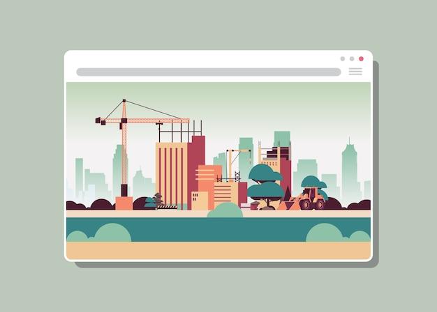 Canteiro de obras com guindastes na janela do navegador da web edifício digital