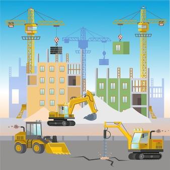 Canteiro de obras com máquinas de construção