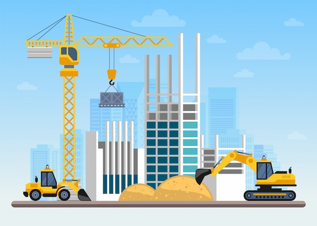 Canteiro de obras construindo uma casa com guindastes e máquinas
