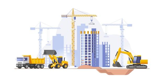 Canteiro de obras construindo uma casa ilustração vetorial de negócios imobiliários