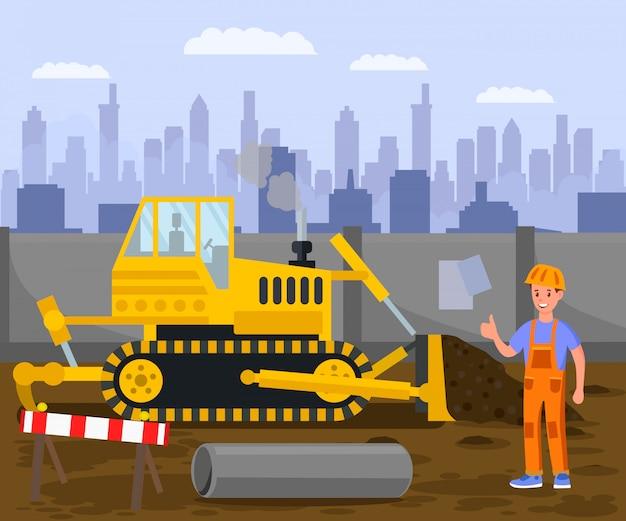 Canteiro de obras, ilustração de trabalho de escavação