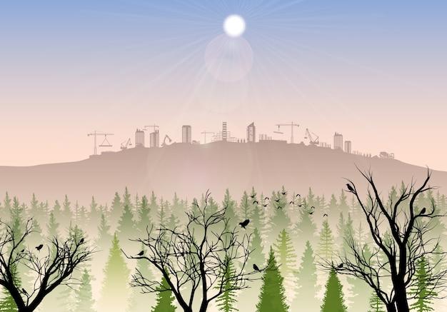 Canteiro de obras nas colinas ao nascer do sol