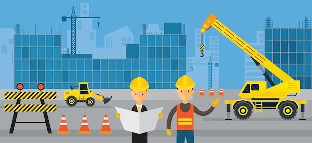 Canteiro de obras, trabalhador com engenheiro, plano de fundo