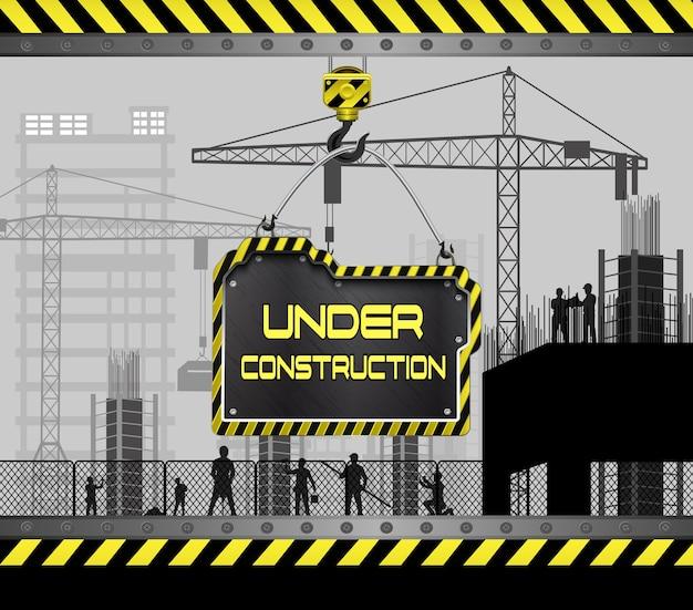 Canteiros de obras com edifícios e guindastes