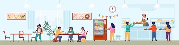 Cantina da escola com funcionários e crianças almoçando, ilustração plana. refeitório escolar, buffet, café.
