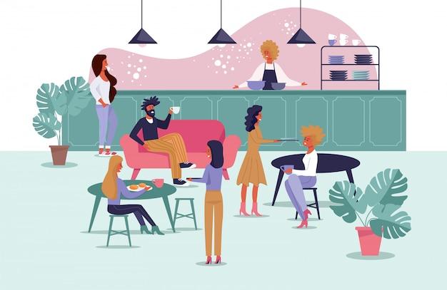 Cantina do escritório para trabalhadores, freelancers cartum