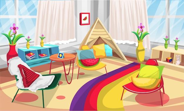 Canto das crianças play room playground com pequena tenda