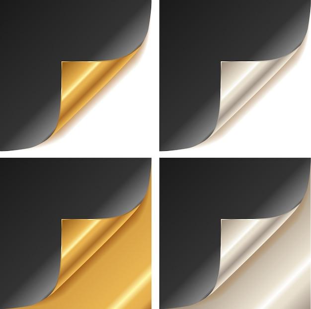 Canto de página dourado e prateado enrolado