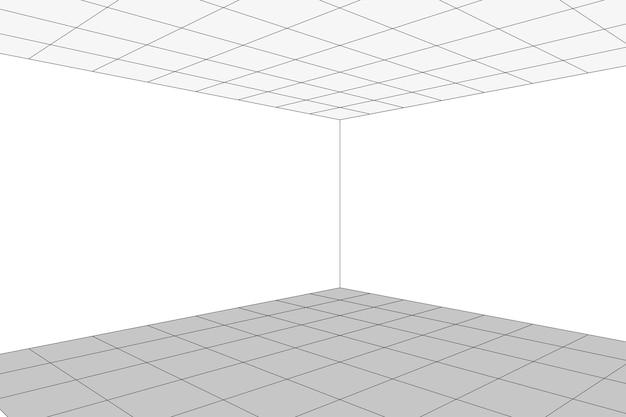 Canto de sala branca de perspectiva de grade com fundo de estrutura de arame cinza. modelo de tecnologia digital cyber box. modelo de arquitetura abstrata de vetor