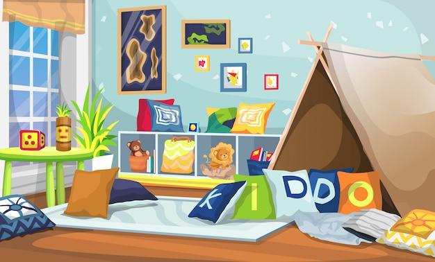 Canto do quarto com barraca velha, divisória de rack para brinquedos, livros e travesseiros, retrato de parede, mesa e tela de plantas ornamentais
