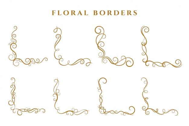 Canto floral fronteiras moldura coleção ornamental