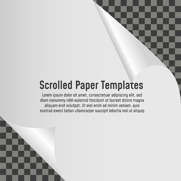 Canto ondulado da página em branco de papel com sombra. ilustração vetorial modelo