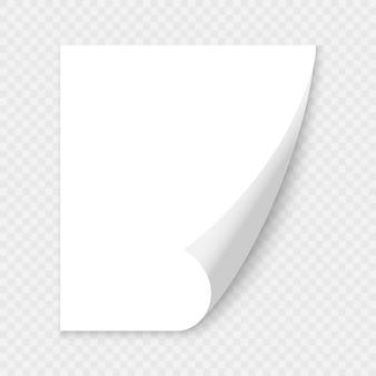 Canto ondulado da página em branco de papel com sombra.
