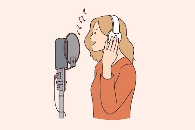 Cantor, blogueiro e conceito de programa de rádio. jovem mulher sorridente com fones de ouvido em pé cantando música ou falando no microfone em estúdio de ilustração vetorial