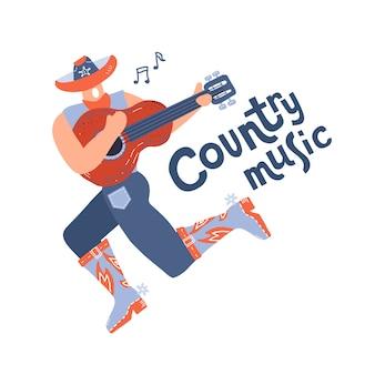 Cantor jovem estilo country com guitarra