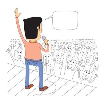Cantor no palco cumprimenta seu público