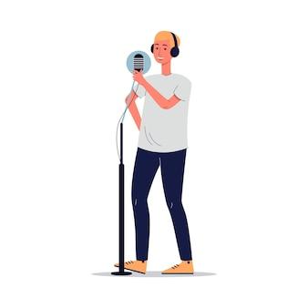 Cantor ou apresentador de rádio com microfone de estúdio