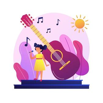 Cantora popular em performance solo. música instrumental acústica. noite de discoteca, festival de jazz, concerto de rock. show de banda ao vivo. evento noturno. .