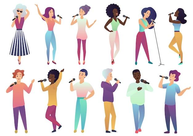 Cantores de desenhos animados segurando microfones e músicos isolados