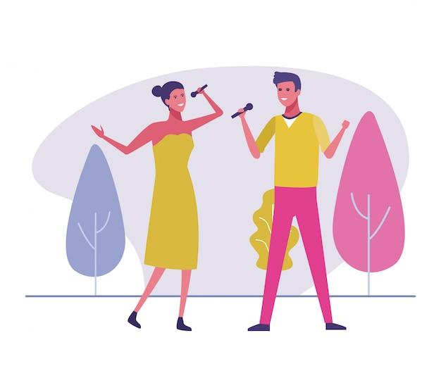 Cantores masculinos e femininos fora