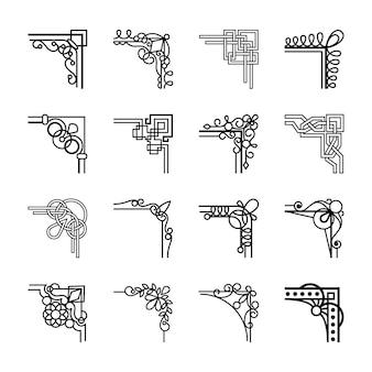Cantos caligráficos de vetor para quadros vintage caligráficos