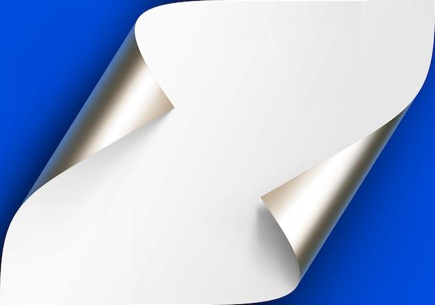 Cantos curvados metálicos prata platina do papel branco