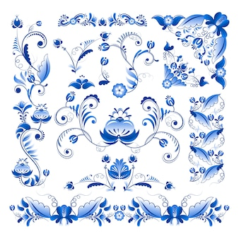 Cantos e outros elementos florais no estilo gzhel