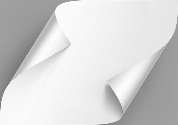 Cantos enrolados de papel branco com sombra