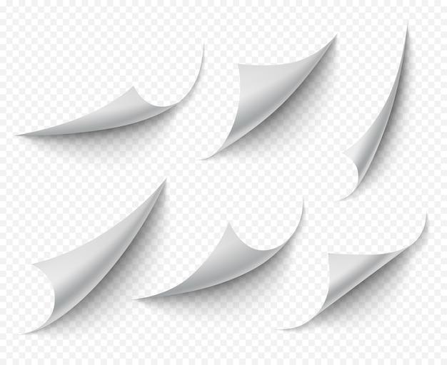 Cantos enrolados. páginas de curvas vazias transparentes brancas vetoriais realistas. nota de papel ângulo torcido, ilustração de página ondulada