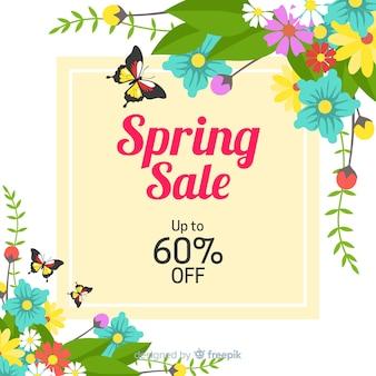 Cantos florais plana primavera venda fundo